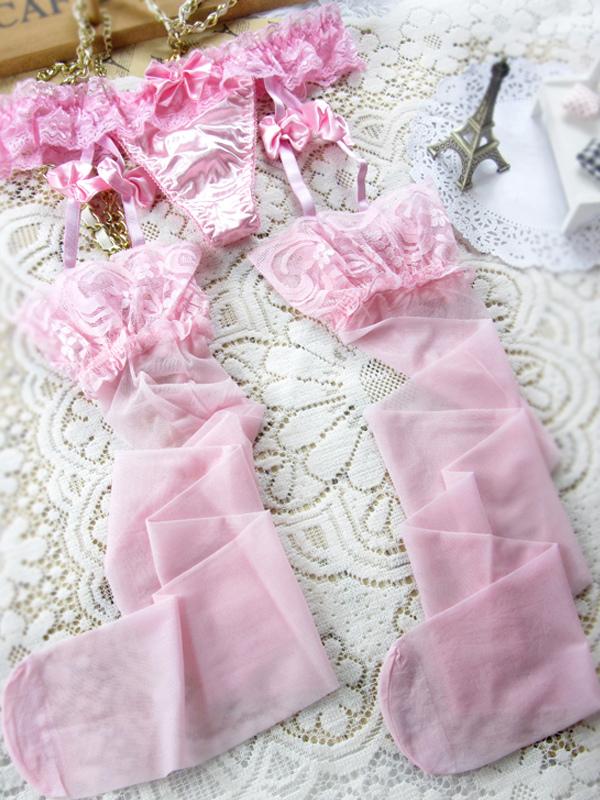 d390b3bf2 Arco rosa sexy estampados de cinta-liga das mulheres do laço-No.1 ...