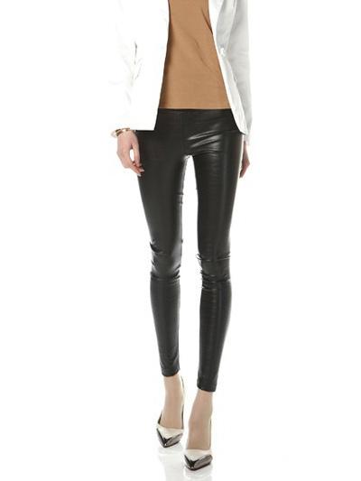 Women Black Leggings 2018 PU Leather Skinny Long Pants