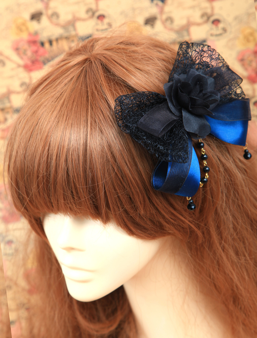Buy Classic Black And Blue Cotton Flower Lolita Headdress for $16.09 in Milanoo store