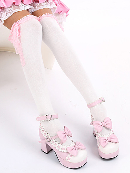 Buy Sweet White Black Cotton Lolita Knee High Socks Lace Trim Bow Decor for $6.99 in Milanoo store