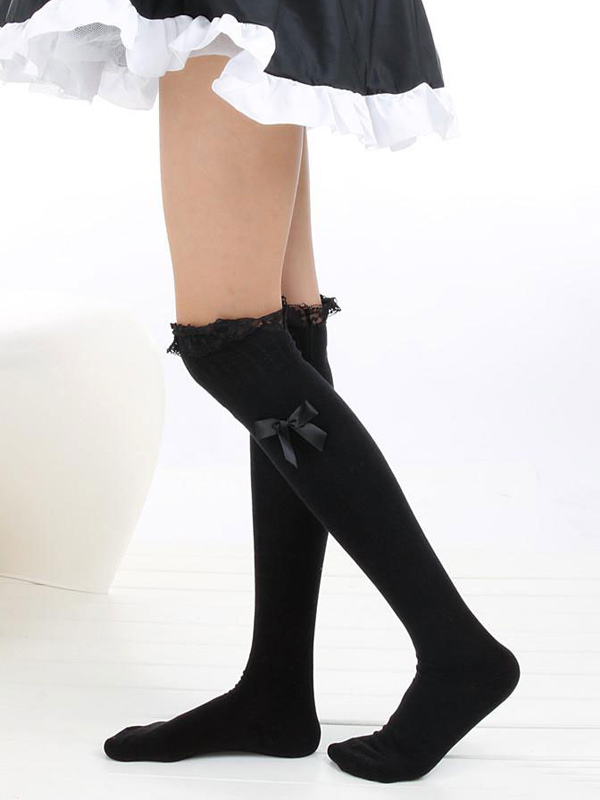 Buy Sweet Cotton Lolita Knee High Socks Lace Trim Lace Ribbon for $6.99 in Milanoo store