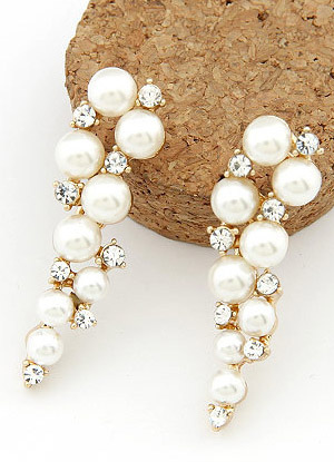 Elegant White Beading Alloy Womens Drop Earrings