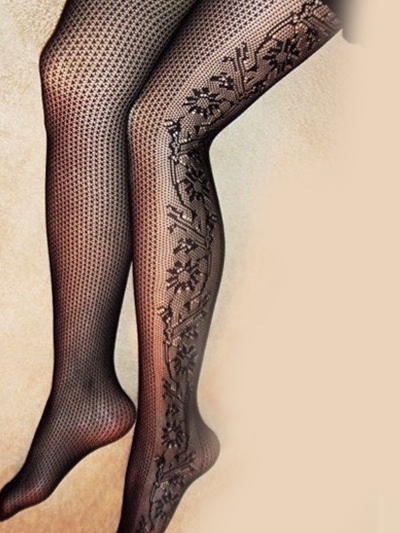 Charming Black Nylon Floral Jacquard Pantyhose