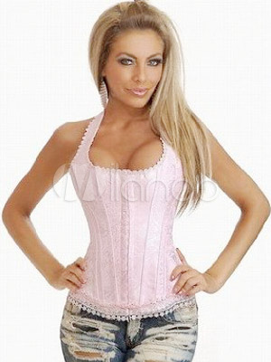 Shaping Pink Satin Halter Women's Corsets