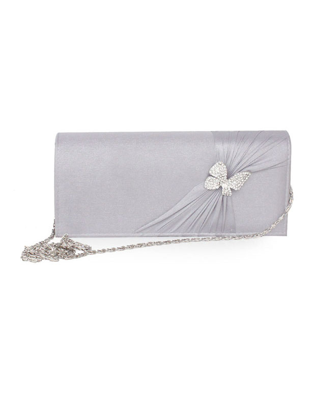 Butterfly Ruched Wedding Bag Silk Clutch Bag