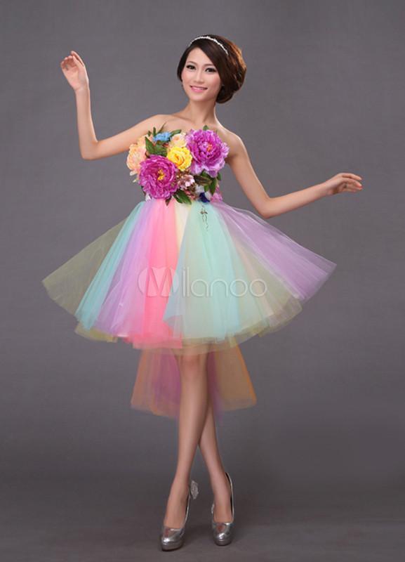 couleur attrayante courir chaussures magasiner pour l'original Robe de soirée élégante princesse multicolore en organza bustier