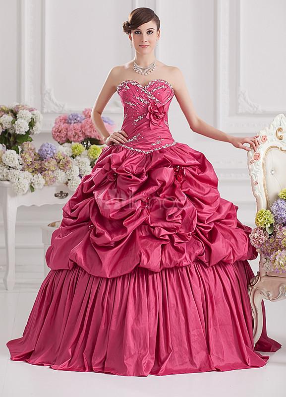 Elegant Fuchsia Taffeta Pleated Sweetheart Women\'s Ball Gown ...