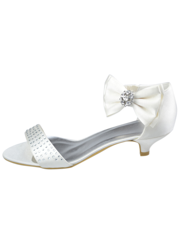 low heel wedding shoes with rhinestones ivory satin bow rhinestone low heel bridal sandals 5618
