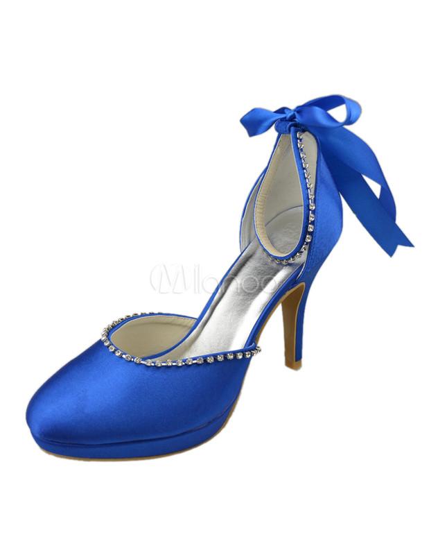 920d326e2b Nobre laço de cetim azul Royal tornozelo sapatos para noiva-No.1 ...