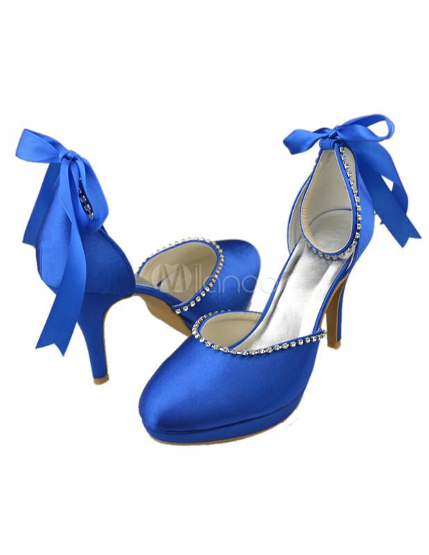 29fabc74c3 ... Nobre laço de cetim azul Royal tornozelo sapatos para noiva-No.5