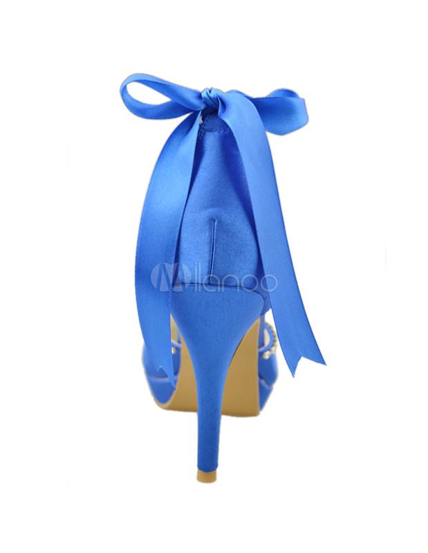 8c136afdb6 ... Nobre laço de cetim azul Royal tornozelo sapatos para noiva-No.3 ...