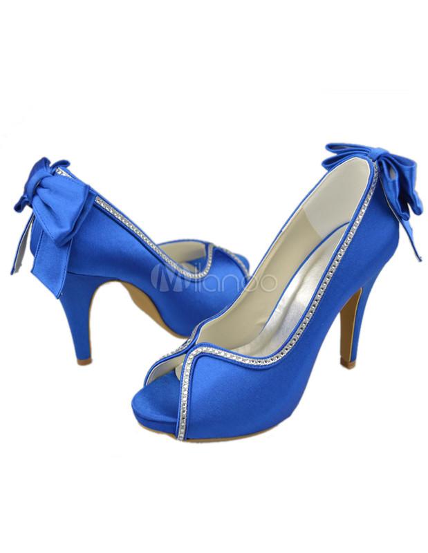 ... Sandales de mairée bleues royales avec strass à peep-toe -No.5 ...