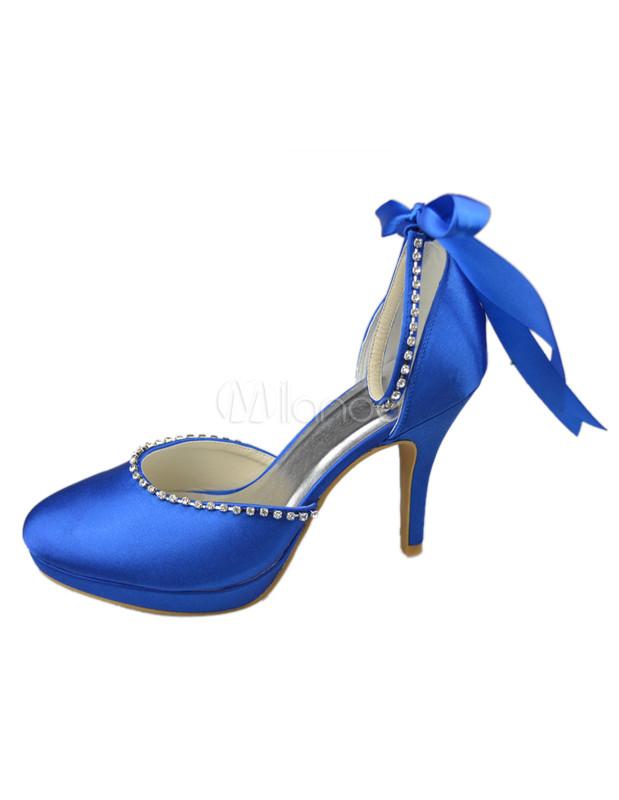 99867a59e2 ... Nobre laço de cetim azul Royal tornozelo sapatos para noiva-No.2 ...