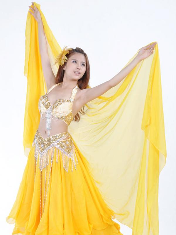 Shawl Belly Dance Costume Yellow Chiffon Bollywood Dance Accessories
