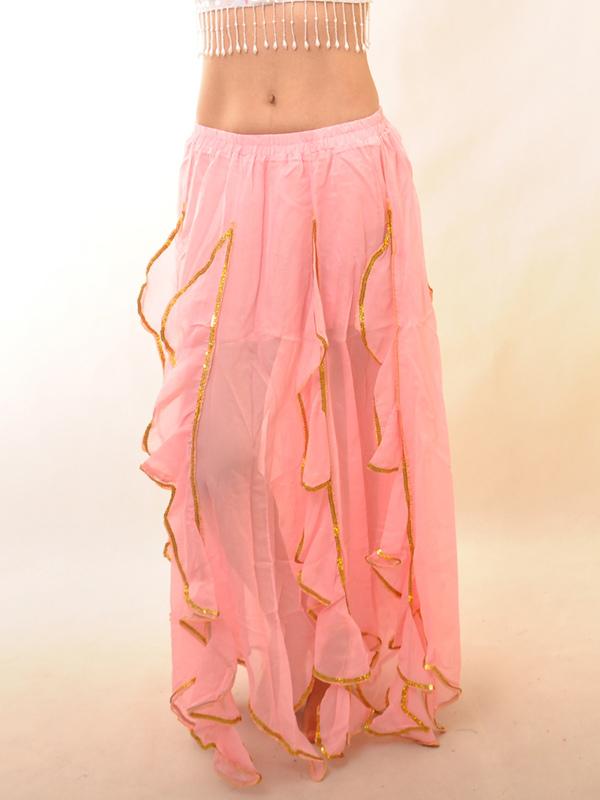 Pink Chiffon Ruffles Belly Dance Long Skirt
