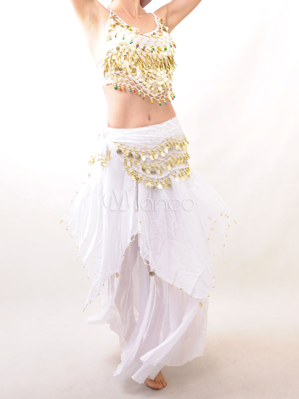 Belly Dance Costume Outfit White Chiffon Halloween Bollywood Dance Dress