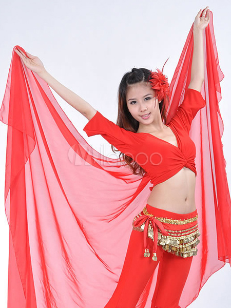 Buy Shawl Belly Dance Costume Red Chiffon Bollywood Dance Accessories for $9.19 in Milanoo store
