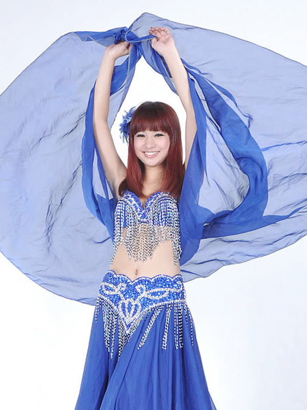 Buy Shawl Belly Dance Costume Blue Chiffon Bollywood Dance Accessories for $9.19 in Milanoo store