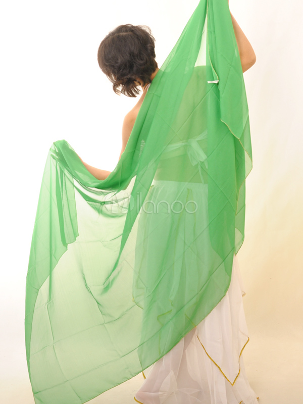 Buy Shawl Belly Dance Costume Green Chiffon Bollywood Dance Accessories for $9.19 in Milanoo store