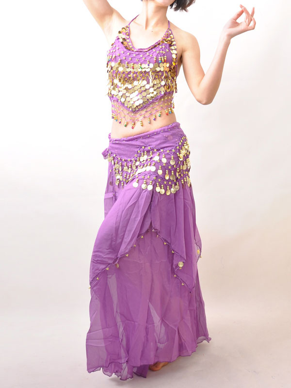 Belly Dance Costume Outfit Purple Sequined Chiffon Bollywood Dance Set For Women