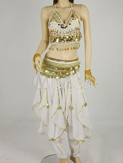 Buy Belly Dance Costume Outfit White Chiffon Sequined Bollywood Dance Set For Women for $26.99 in Milanoo store