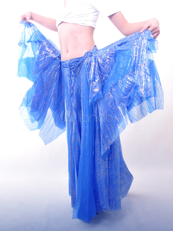 Charming Blue Attractive Belly Dance Long Skirt