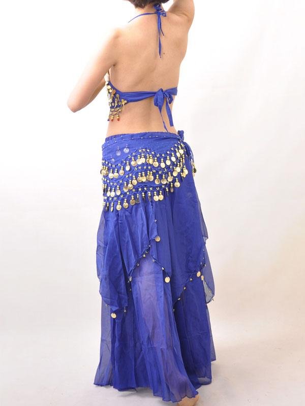 Traje de danza del vientre de gasa azul con lentejuelas - Milanoo.com