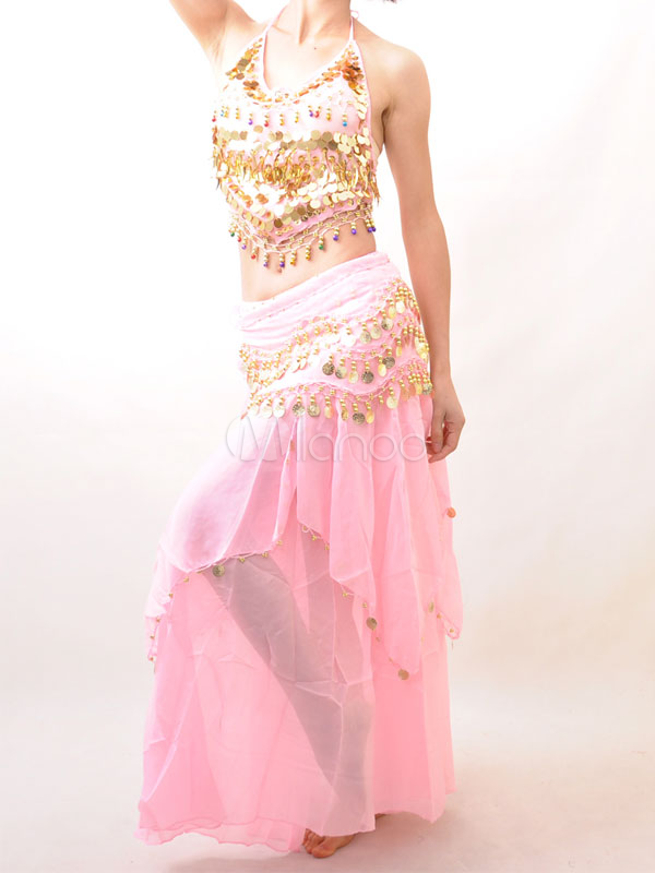 Outfit Belly Dance Costume Pink Sequined Chiffon Bollywood Dance Set For Women
