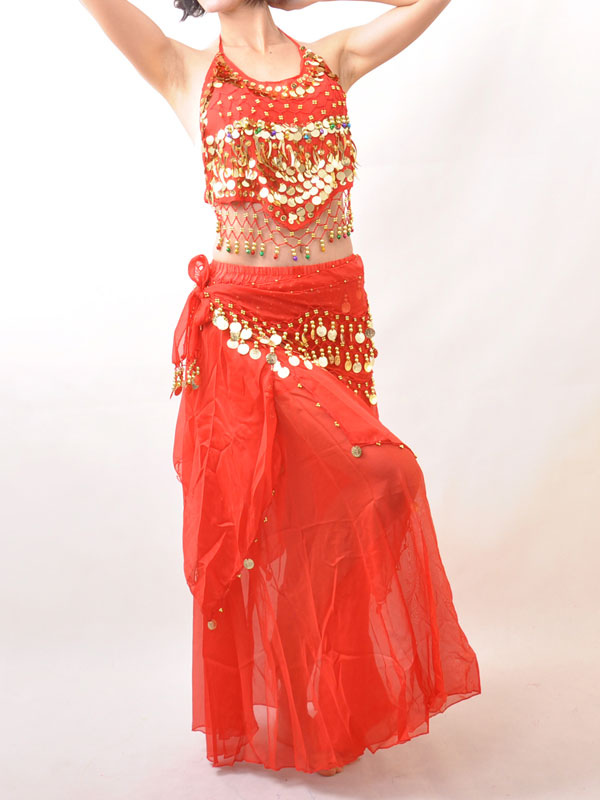 Buy Belly Dance Costume Outfit Red Sequined Chiffon Women's Bollywood Dance Set for $22.99 in Milanoo store