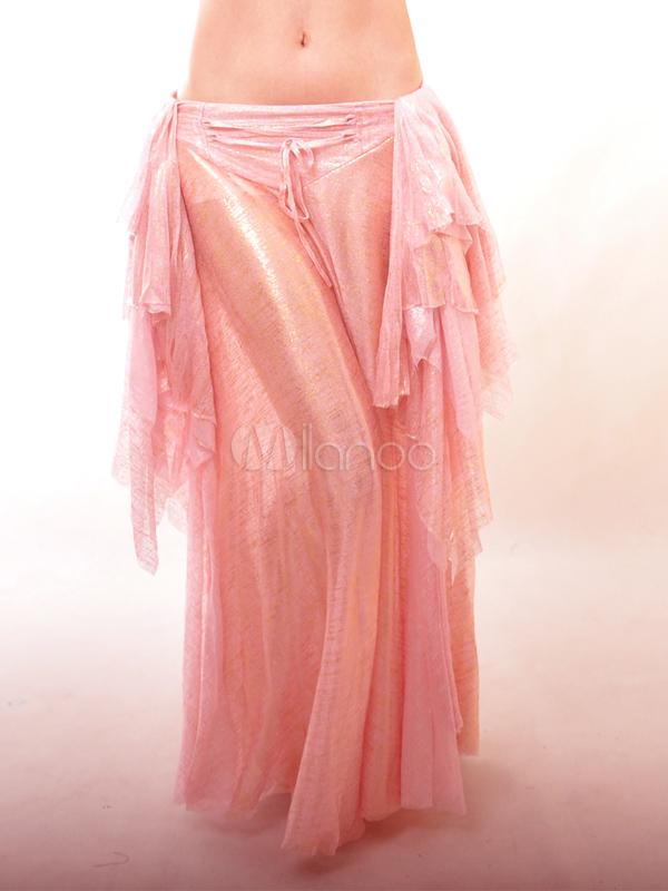 Pink Elastic Silk Like Satin Attractive Belly Dance Long Skirt