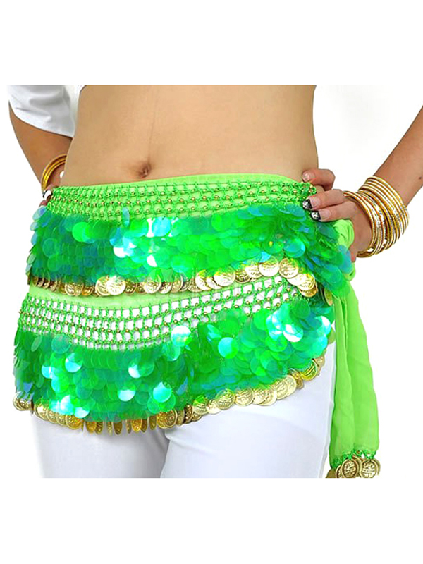 Hip Scarf Belly Dance Costume Green Sparkling Chiffon Bollywood Dance Accessories