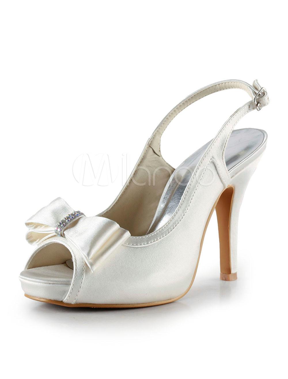 Sweet Ivory Satin Bow Slingback Heels For Bride