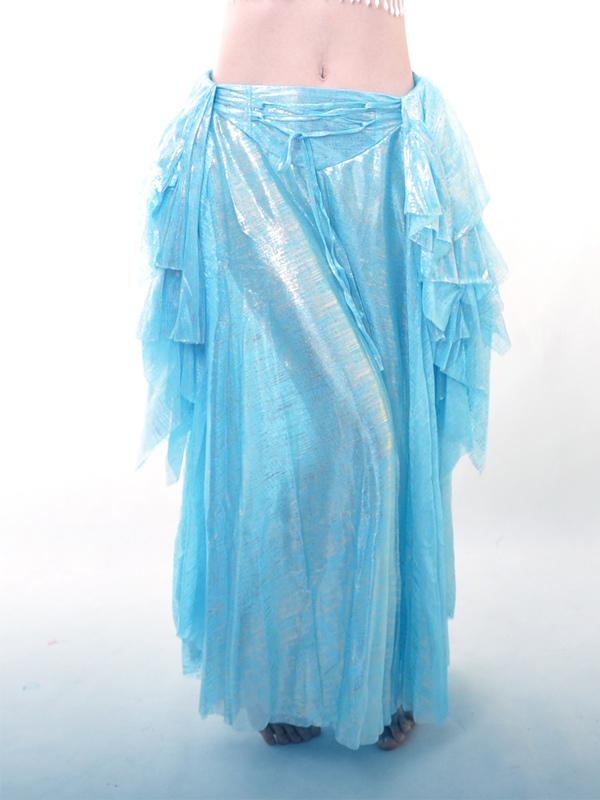 Blue Elastic Silk Like Satin Belly Dance Long Skirt