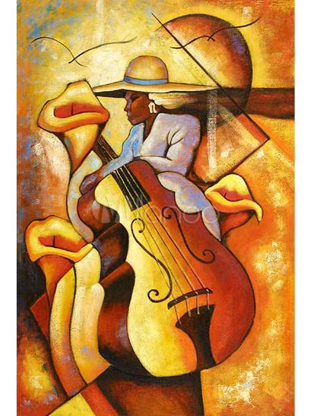 CHOP417 beautiful girl  Meditation bow violin hand painted  oil painting art