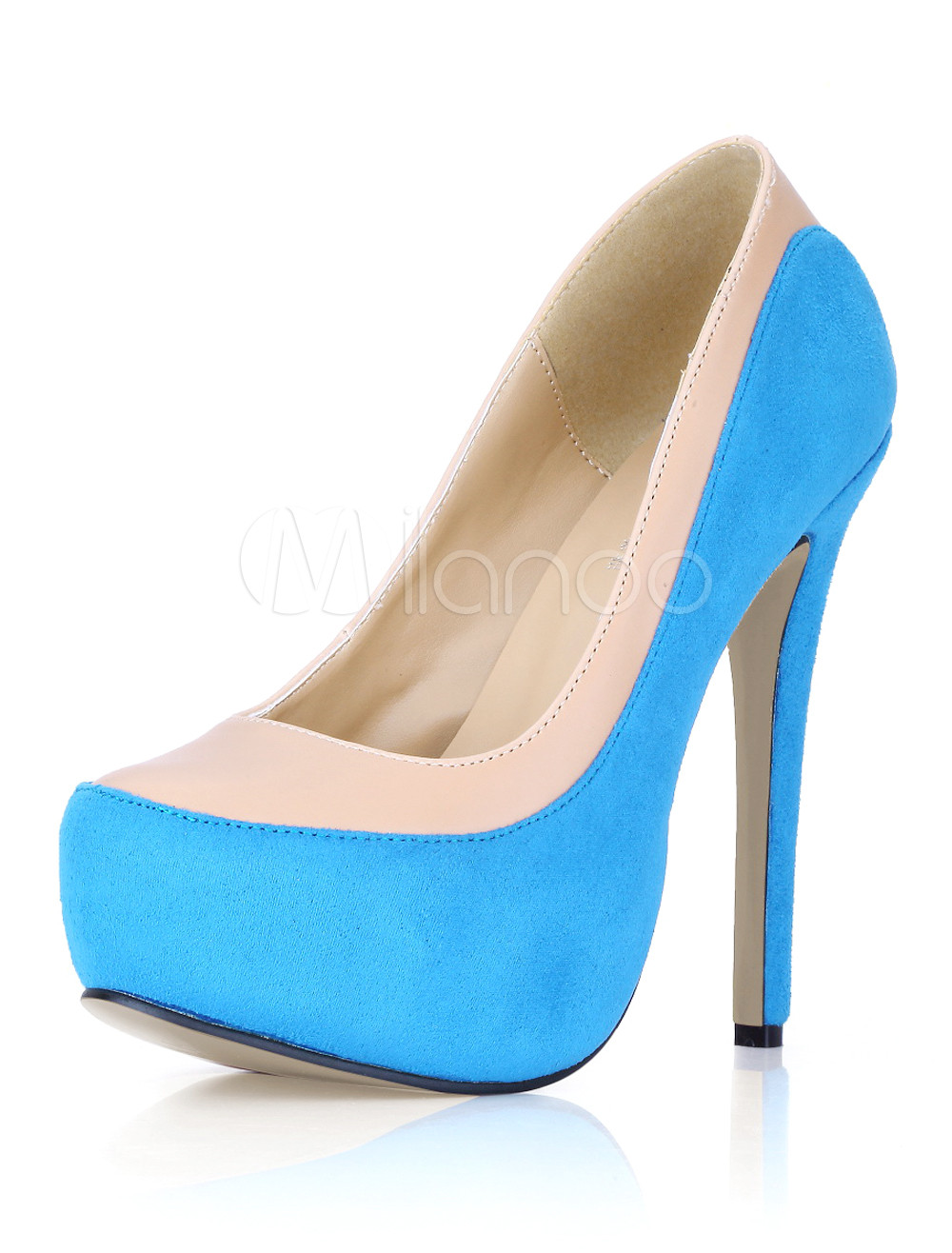 Zapatos de plataforma de gamuza de color celeste s4Nom