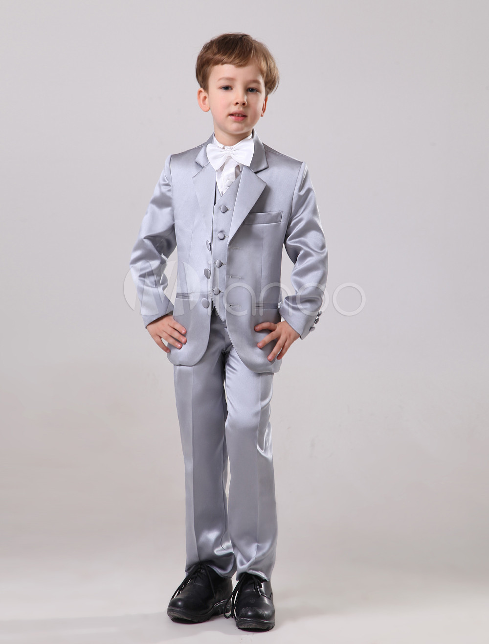 Elegant Silver Satin Wedding Ring Bearer Suits