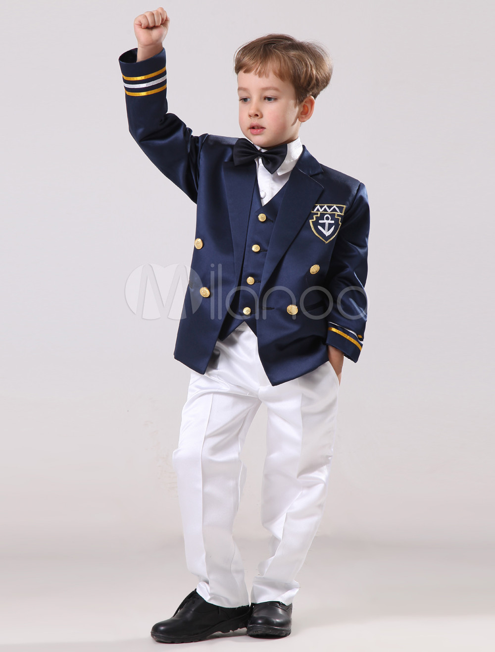 Academic Style Button Front Satin Ring Bearer Suits