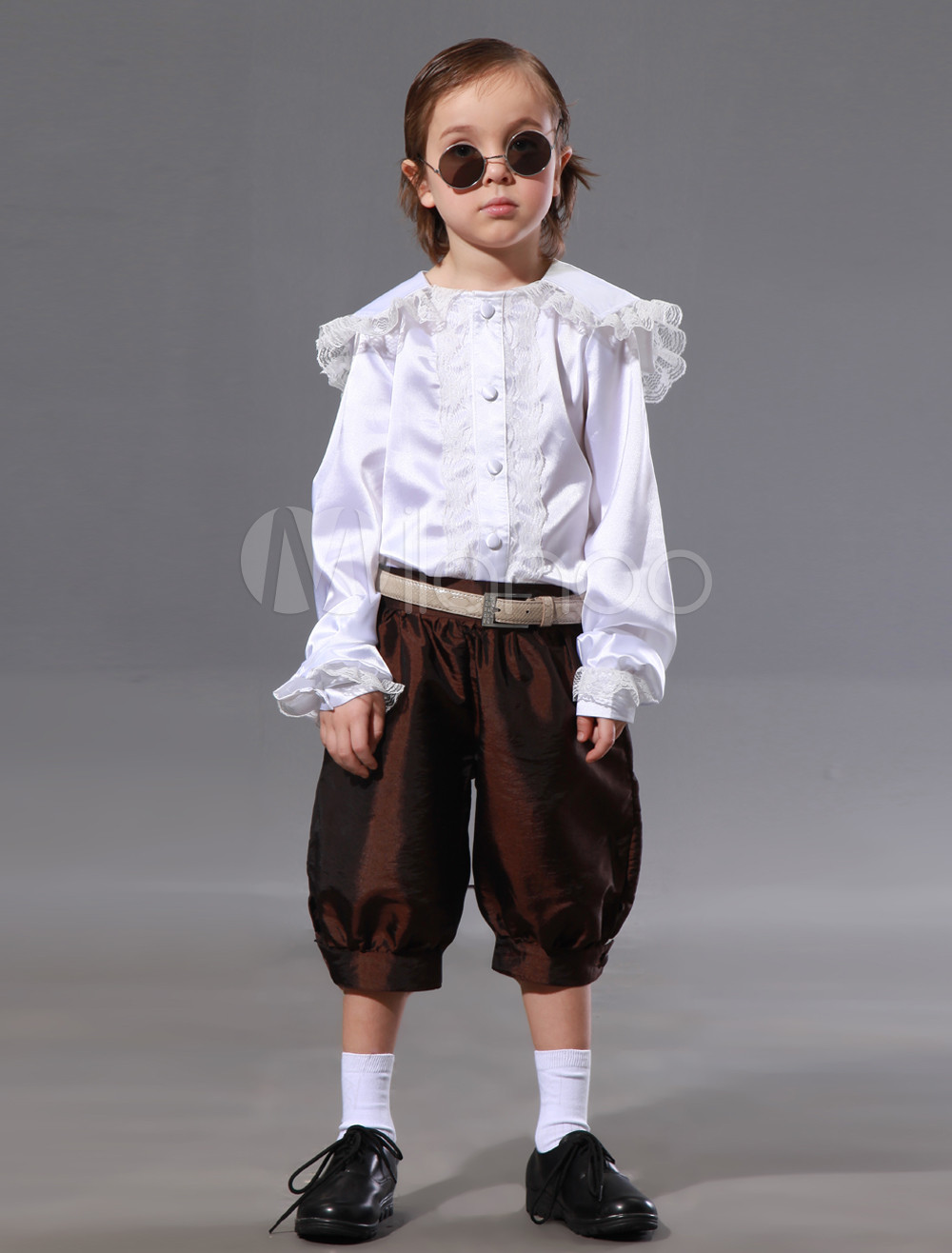 Casual Silk Like Taffeta Button Fronted Ring Bearer Suits