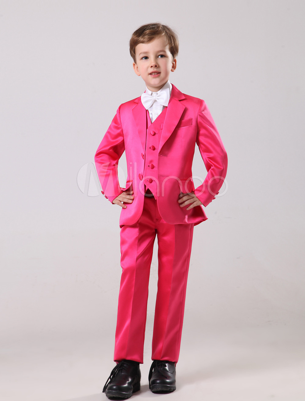 Gorgeous Rose Red Satin Bridal Ring Bearer Suits