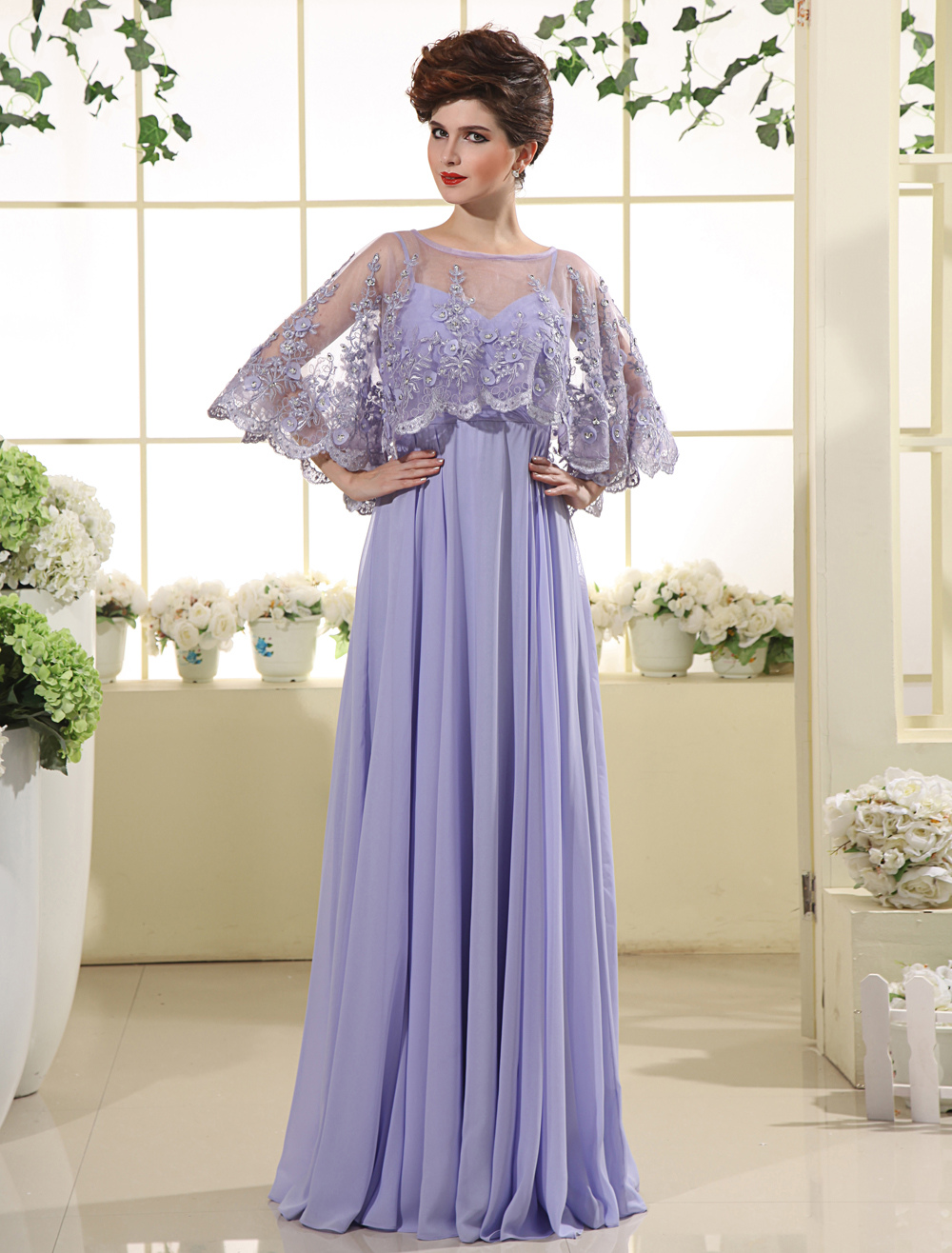 Violet Bridesmaid Dress 2 Piece Chiffon Prom Dress Lace Embroidered Illusion Poncho Floor Length Mother Of The Bride Dress  Wedding Guest Dress Milanoo