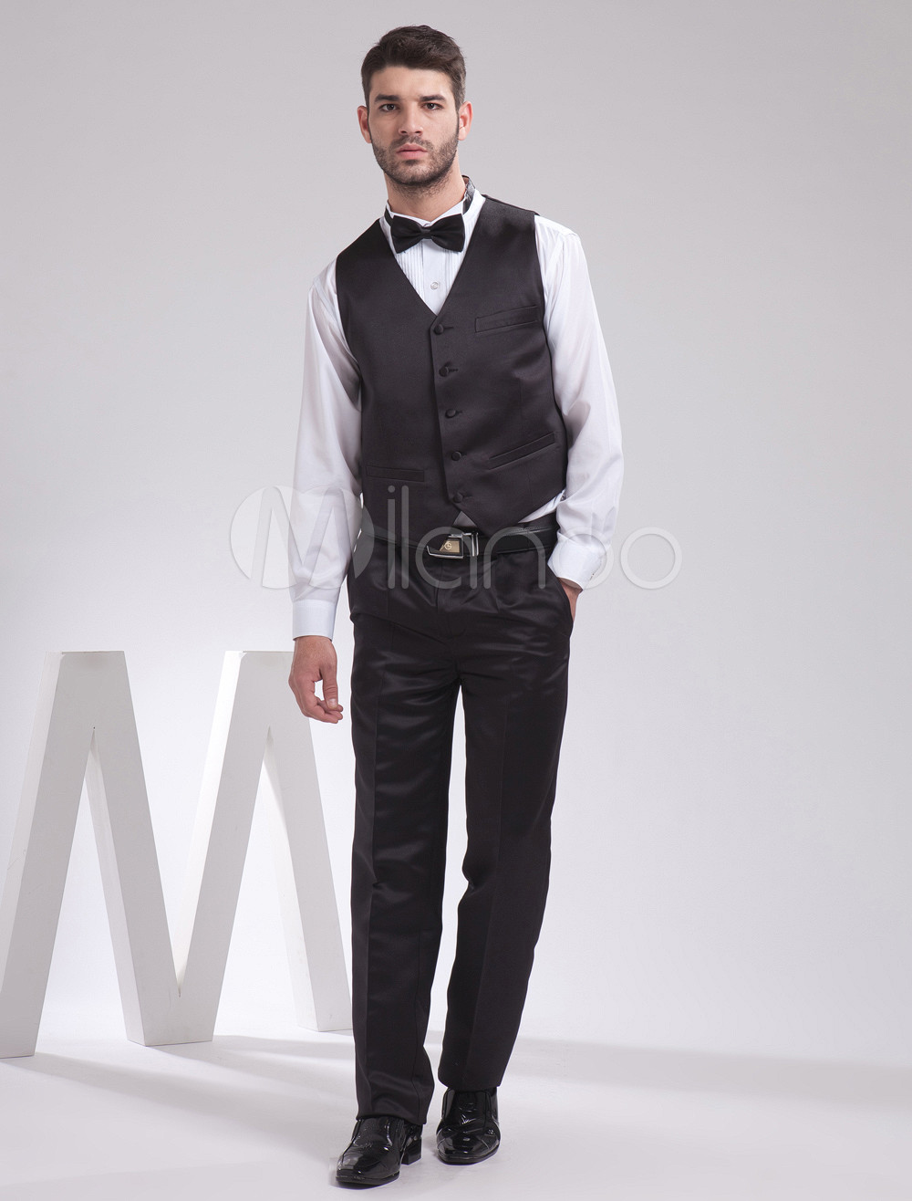 Buy Slimming Black Satin Buttons V-Neck Fashion Groom Vest for $39.99 in Milanoo store