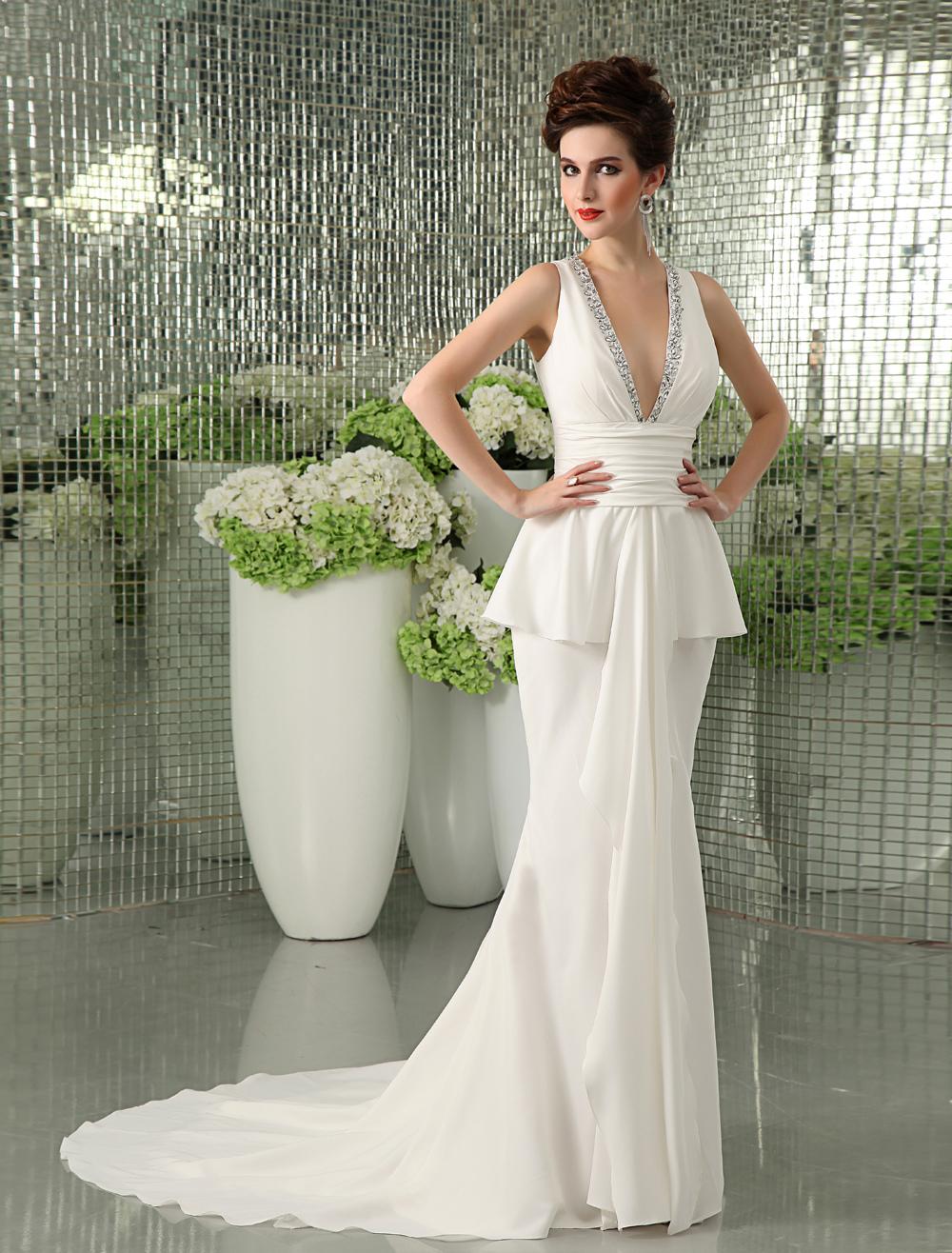 Ivory Sheath V-Neck Beading Bridal Wedding Gown Milanoo