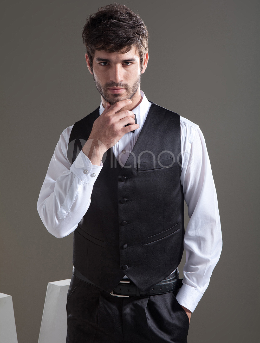Buy Elegant Black Satin Buttons V-Neck Fashion Groom Vest for $39.99 in Milanoo store
