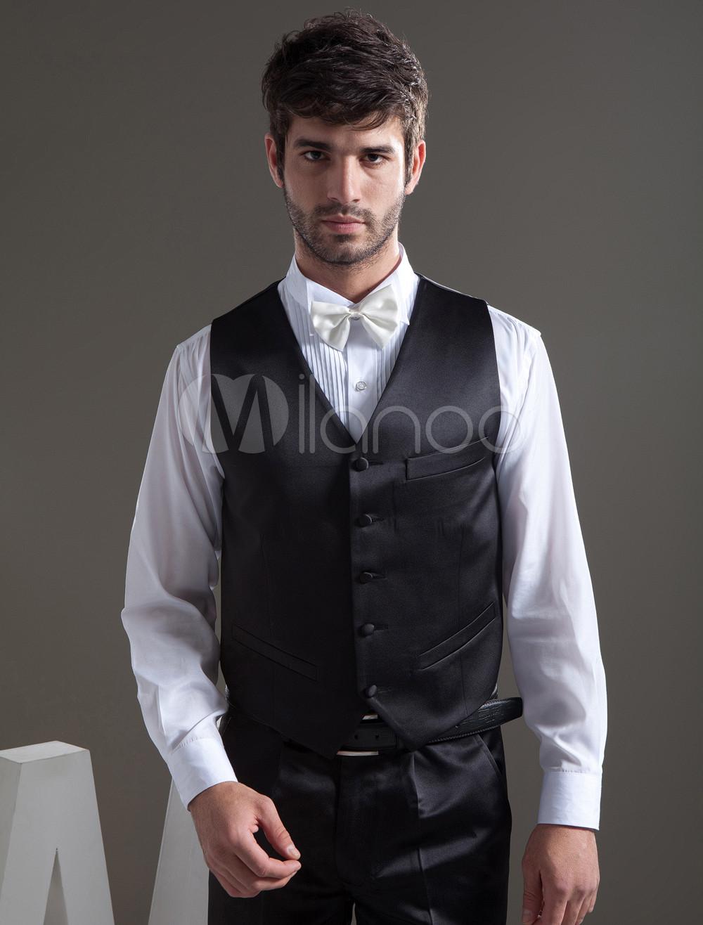 Buy Popular Black Satin Buttons V-Neck Tailored Wedding Groom Vest for $39.99 in Milanoo store
