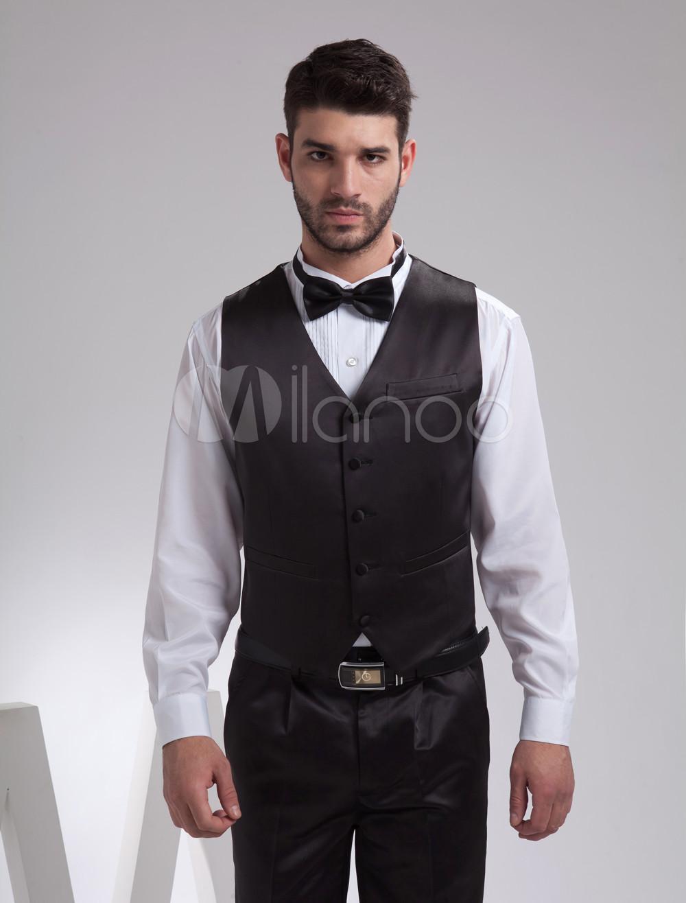 Buy Noble Black Satin Buttons V-Neck Tailored Wedding Groom Vest for $39.99 in Milanoo store