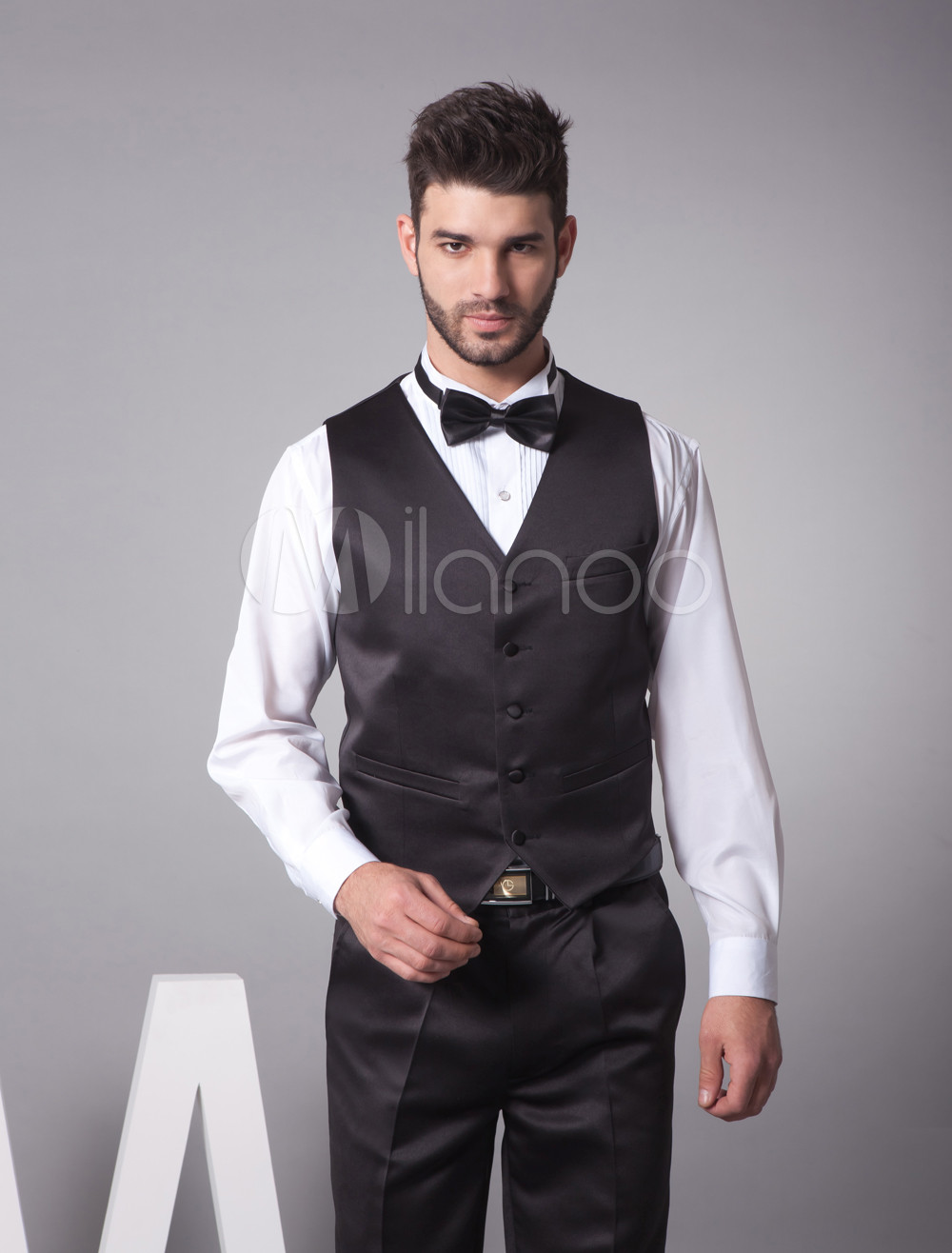 Buy Black Satin Buttons V-Neck Tailored Wedding Groom Vest for $39.99 in Milanoo store