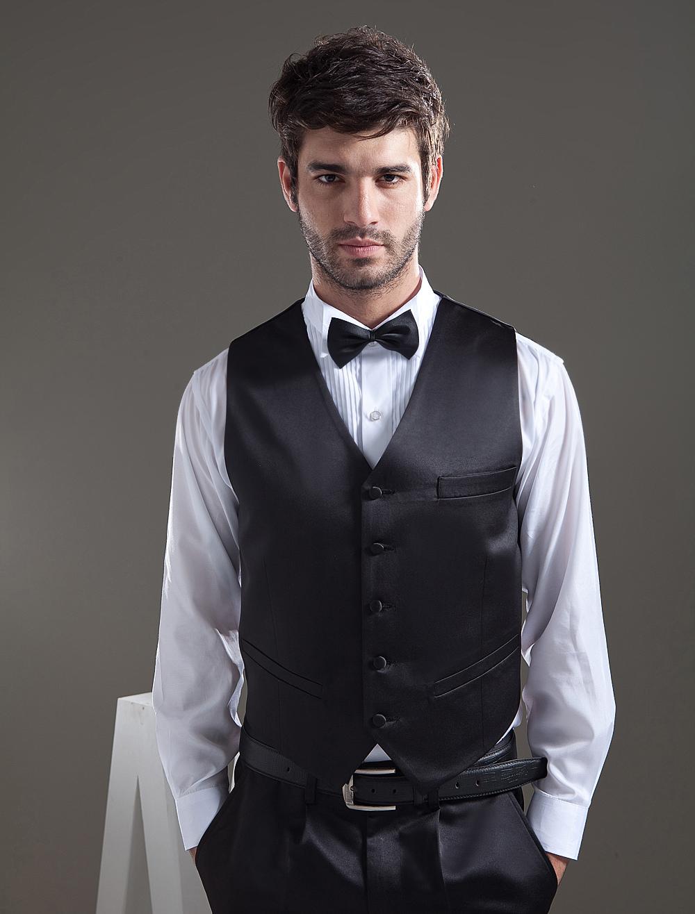 Classic Black Satin Buttons V-Neck Groom Vest
