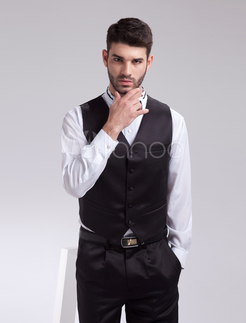 Buy Classic Concise Black Satin Buttons V-Neck Tailored Fashion Groom Vest for $39.99 in Milanoo store