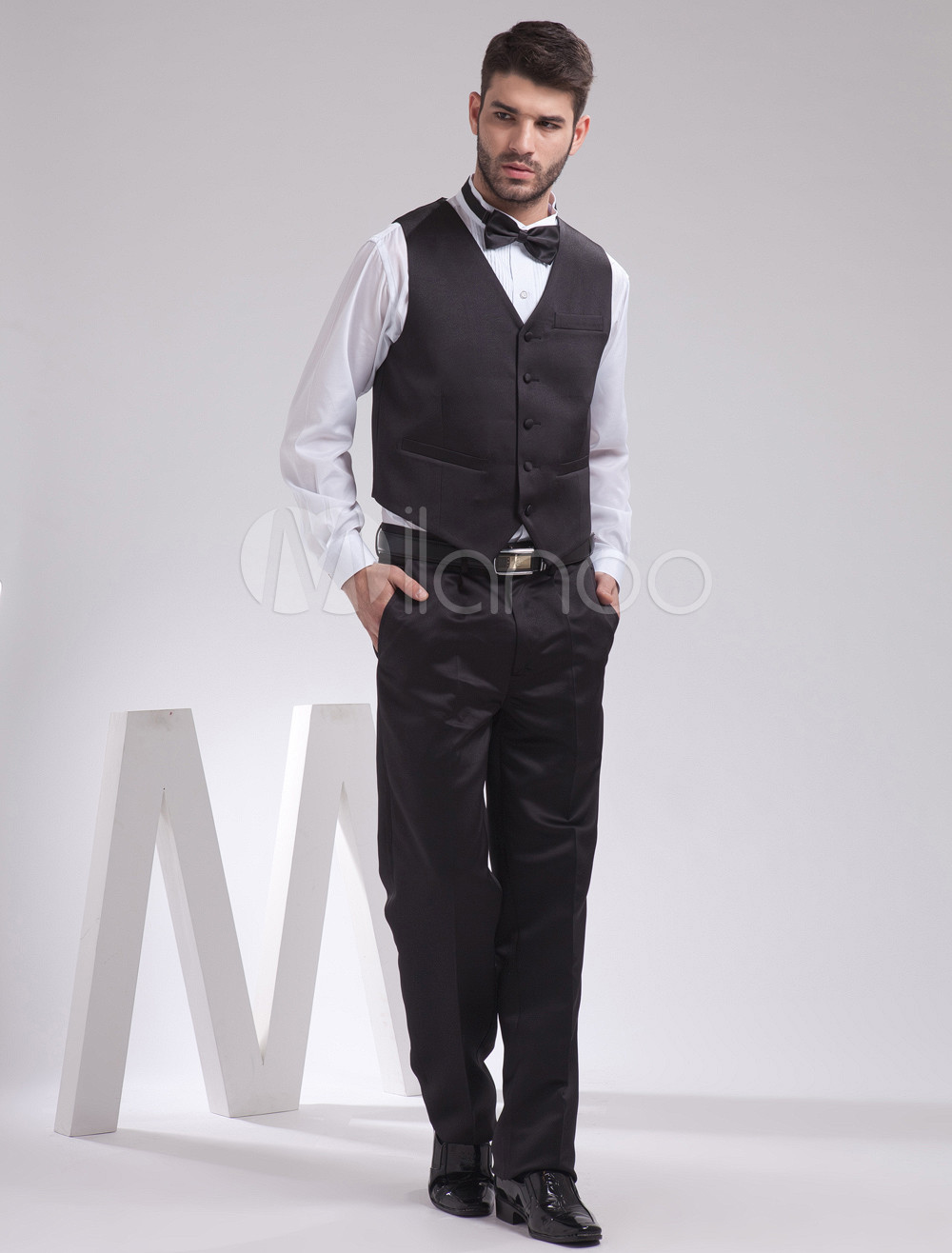 Buy Classic Black Satin Buttons V-Neck Fashion Groom Vest for $39.99 in Milanoo store