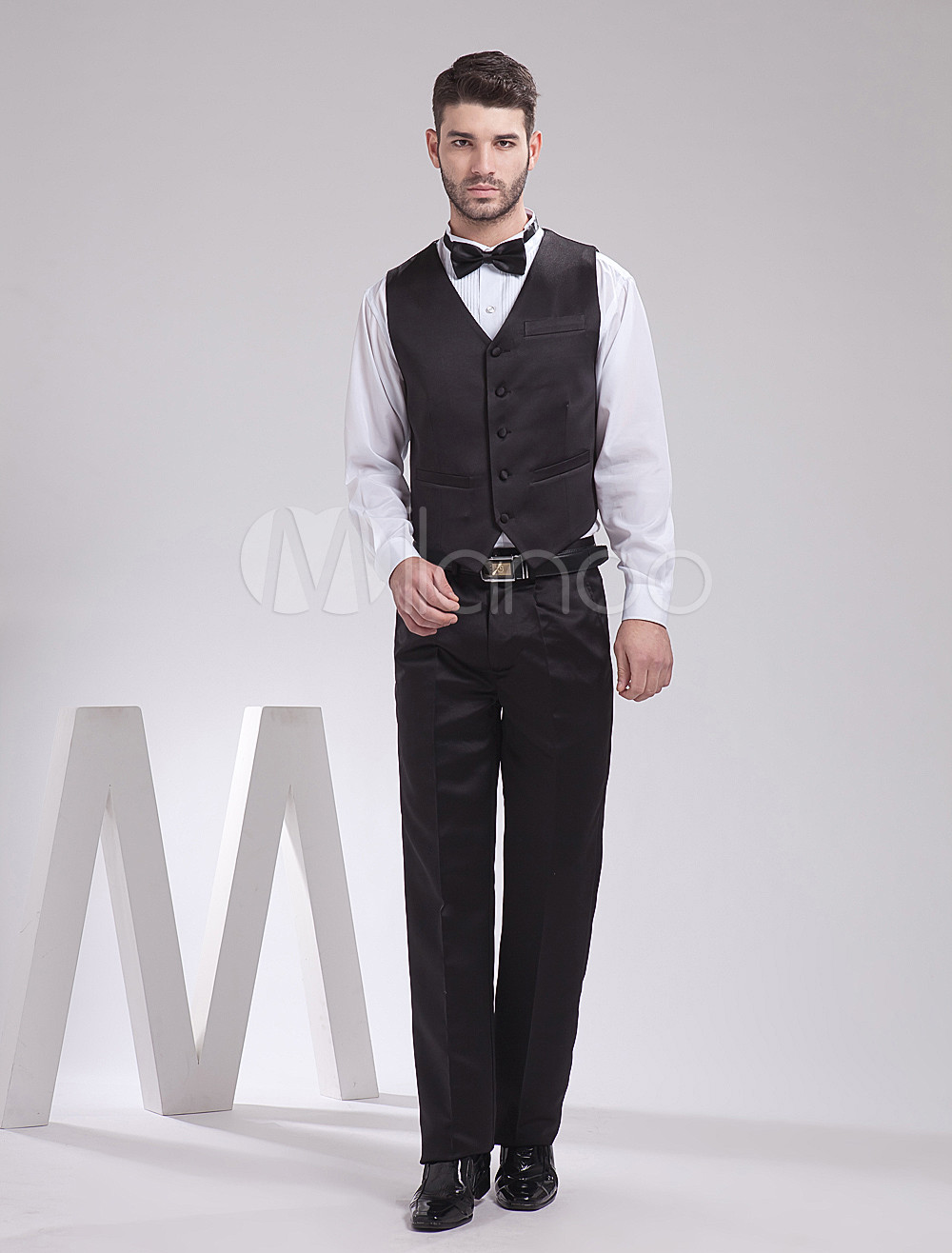 Buy Shaping Black Satin Buttons V-Neck Tailored Wedding Groom Vest for $39.99 in Milanoo store